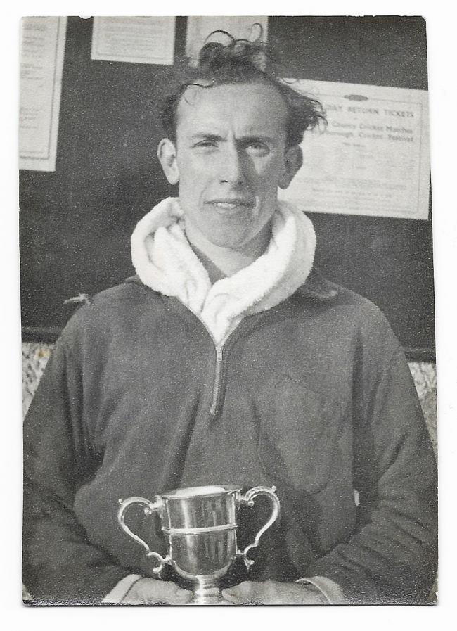 Norman Smith with his winner's trophy from the 1954 Northallerton to Thirsk Road Race
