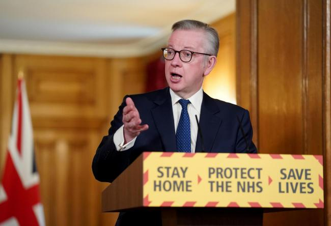 Minister for the Cabinet Office Michael Gove speaking during a media briefing in Downing Street, London. Picture: Pippa Fowles/10 Downing Street/Crown Copyright/PA Wire