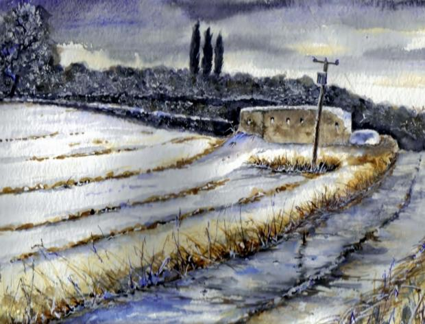 The Northern Echo: An evocative painting by John Young showing the Glebe Road pillbox, in Darlington, in the snow
