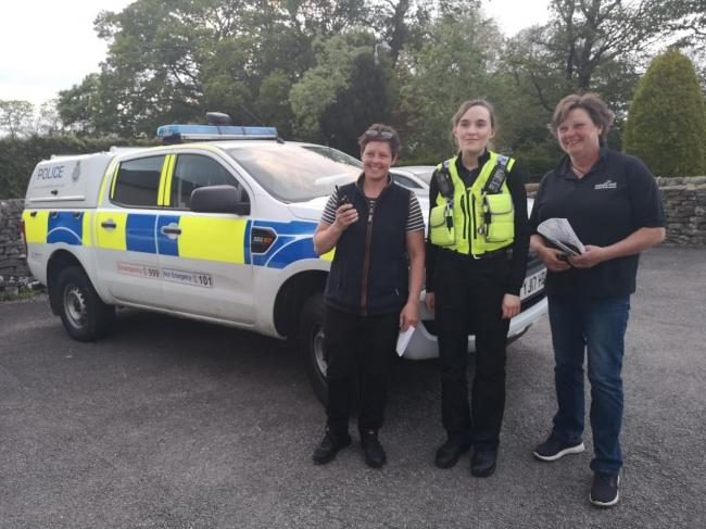 PCSO Emily Hewitson with Grassington Mobile Rural Watch volunteers