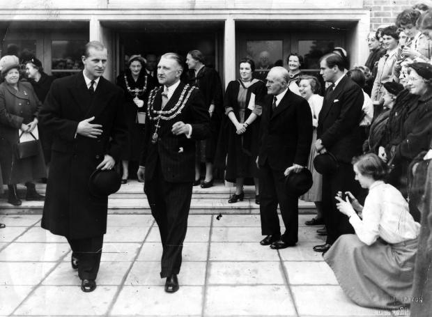 The Northern Echo: The Duke of Edinburgh with Cllr John Neasham, mayor of Darlington, at the High School in 1955