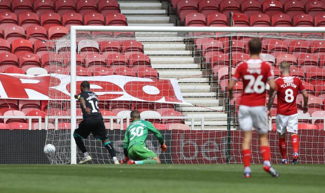 Rhian Brewster peels away after opening the scoring in Swansea's 3-0 win over Middlesbrough at the Riverside (Picture: Owen Humphreys/PA Wire)
