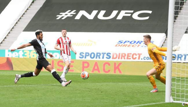 Joelinton scores Newcastle's third goal in their 3-0 win over Sheffield United (Picture: Michael Regan/PA Wire)