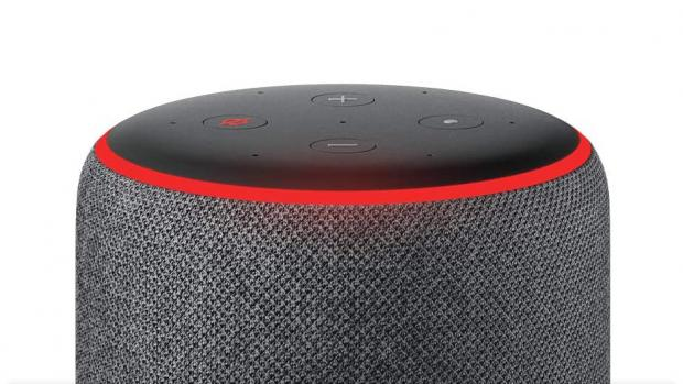 The Northern Echo: A red light ring means the Echo's microphones are turned off, and Alexa can't hear your conversations. Credit: Amazon