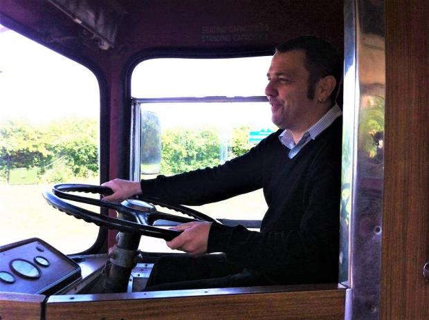 The Northern Echo: Steve Foster while using a vintage bus
