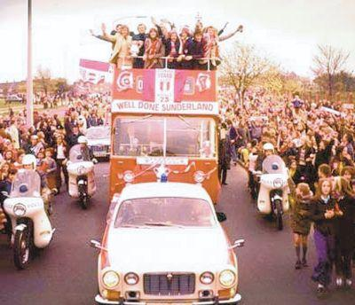 The Northern Echo: YESTERYEAR GLORY: Sunderland's successful 1973 FA Cup winning team in an open-top bus on their triumphant return from Wembley – one of the exhibition pictures