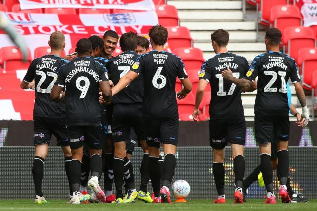 Middlesbrough's players celebrate Ashley Fletcher's opening goal in their 2-0 win at Stoke