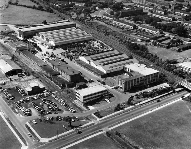 The Northern Echo: UMM at Newton Aycliffe from the air in 1968, with the famous Blue Bridge on the right