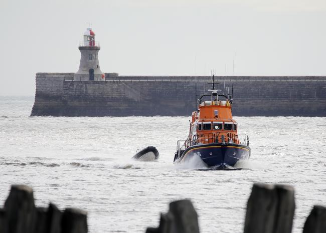 05 July 2020 A man is rescued by Tynemouth RNLI Severn Class all weather lifeboat 'Spirit of Northumberland' and her volunteer crew after his vessel broke down leaving him being blown out to sea by strong winds. Picture: Adrian Don/RNLI