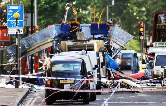 The scene in Tavistock Square, central London, after a bomb ripped through a double decker bus on July 7, 2005