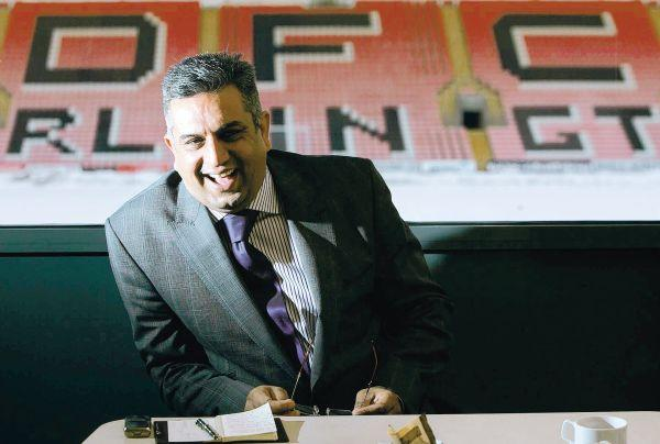 The Northern Echo: AFFORDING A SMILE: Despite the club's precarious position at the foot of League Two, Darlington chairman Raj Singh remains optimistic