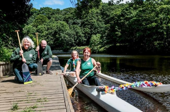 Three River Serpents Dragon Boat Club are raising funds to buy a Tahitian six seater out rigger canoe. Pictured are Craig Bates, June Davison, Keni Mayes and Jane Kemp Picture: SARAH CALDECOTT