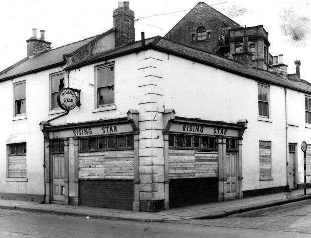 The Northern Echo: The Rising Star, seen here in 1962, was at the bottom of Lower Priestgate, on its corner with Clay Row. The big building in the background is Peases Mill. The pub, like all of the Clay Row area, was cleared in the late 1960s to make way for the inner ring