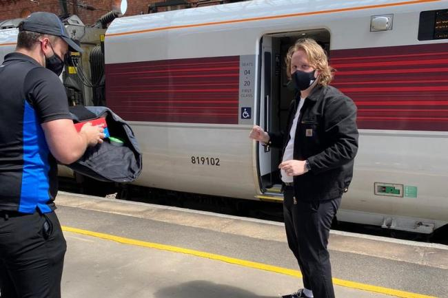 Lewis Capaldi gets pizza delivered in Darlington while on train to London