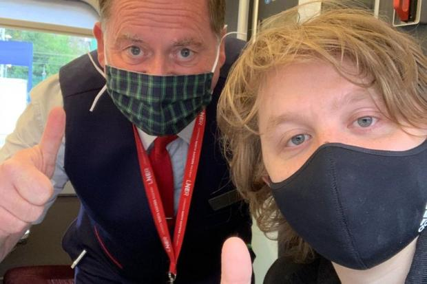 The Northern Echo: Lewis Capaldi with the LNER train manager Pictures supplied by Dominos
