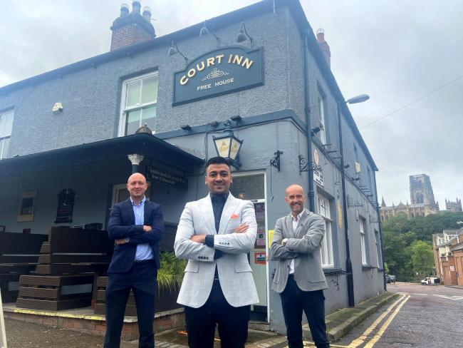 Bradley Hall's Joseph Ianson, investor Imad Ali and Bradley Hall group director Peter Bartley at The Court Inn, Durham