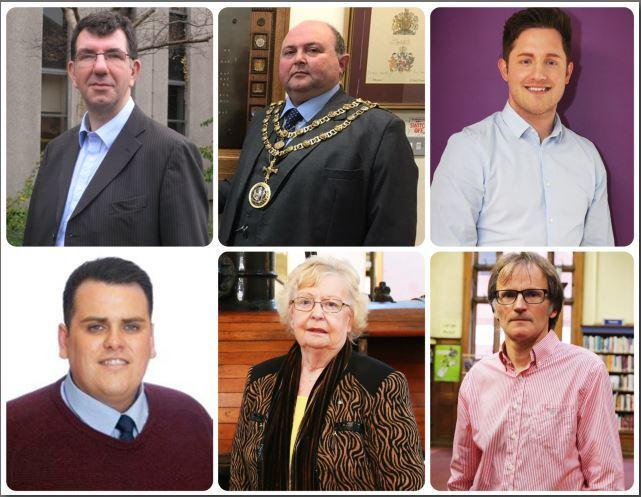 Councillors Chris McEwan, Nick Wallis, Kevin Nicholson, Jonathan Dulston, Heather Scott and Stephen Harker
