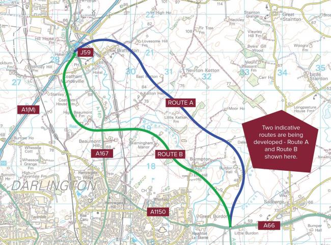 Two proposed new routes for a Darlington bypass connecting the A66 to the A1(M). Picture: TVCA.
