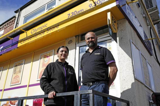 Dal and Sabby Chamdal outside their Olympic Street Convenience Store in Darlington Picture: STUART BOULTON