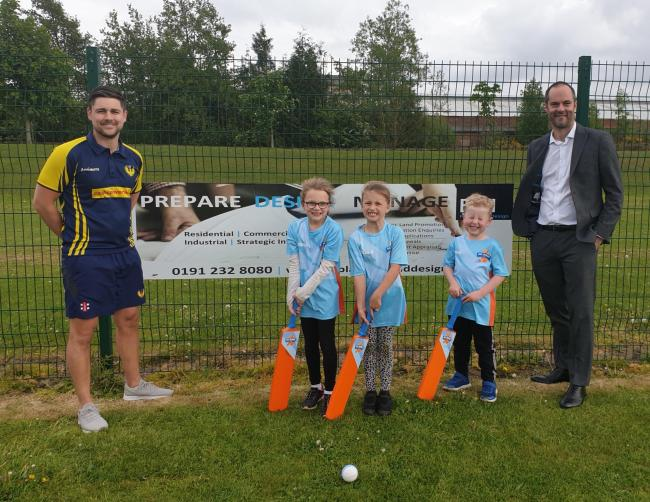 Hunwick CC captain and committee member Chris Pratt, left, with young players, and Mark Ketley, director of sponsor BH Planning and Design