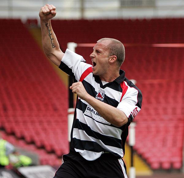 Alan White celebrates his goal against Accrington Stanley in 2008