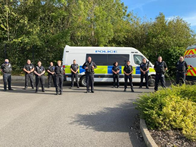 The team of 14 special constables who carried out warrants in Redcar and Middlesbrough