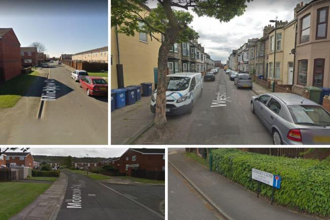 The 10 streets with highest crime reported in Redcar and Cleveland