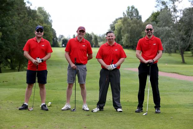 A charity golf day at Thirsk Golf Club with money raised going to Northallerton Town Juniors FC and to a local boy who's just recovered from Leukaemia.  The Froneri team of Justin Coy, Dan Mortby, Marc Kemp and Oliver Hare. Picture: CHRIS BOOTH