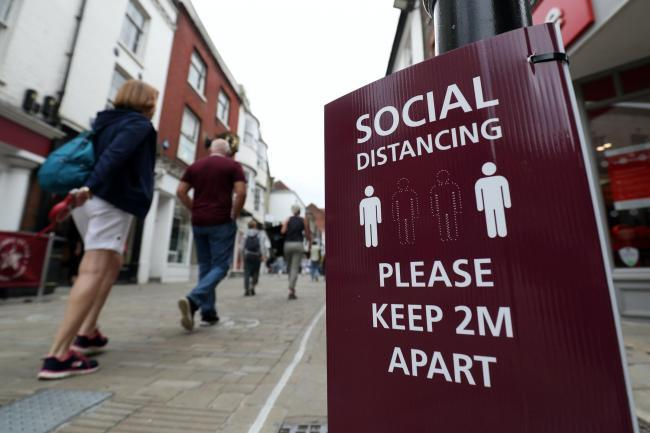 A high street in the time of social distancing Picture: PA