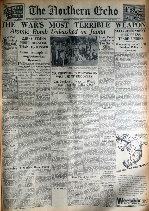 The Northern Echo: The Northern Echo's front page of August 7, 1945, reporting the events of the day before