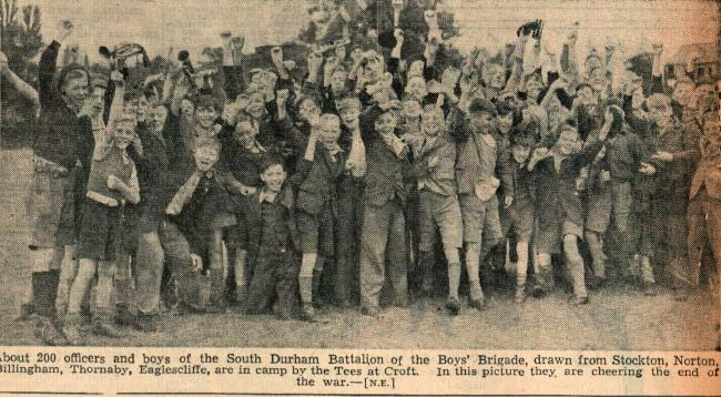 About 200 boys from the Tees Valley on a Boys' Brigade camp at Croft when the news of VJ Day broke. The three papers - The Northern Echo, the Darlington & Stockton Times and the Northern Despatch