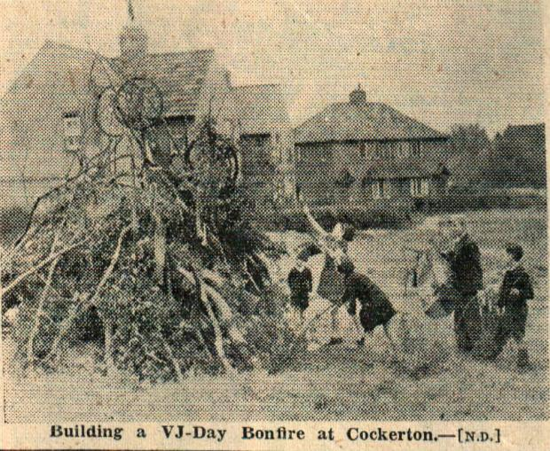 The Northern Echo: Building a VJ Day bonfire on Cockerton Green