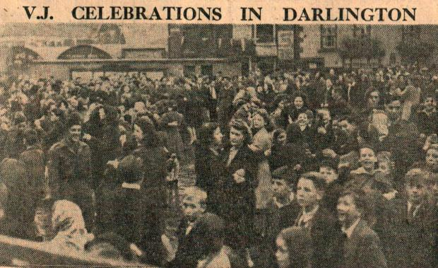 The Northern Echo: Dancing in Darlington Market Place on VJ Day on August 15, 1945