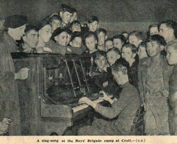 The Northern Echo: A classic wartime singalong. About 200 members of the Tees Valley Boys Brigade were at camp at Croft-on-Tees when the announcement came through, and the Echo photographer got several pictures of them celebrating