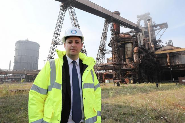 Tees Valley Mayor Ben Houchen pictured in front of the blast furnace on the Teesworks site. No attribution needed. Free for use by all LDRS partners.
