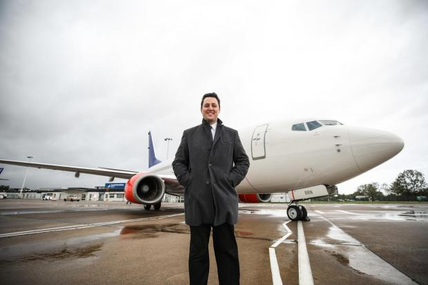Tees Valley Mayor Ben Houchen with the aircraft Picture: DAVE CHARNLEY
