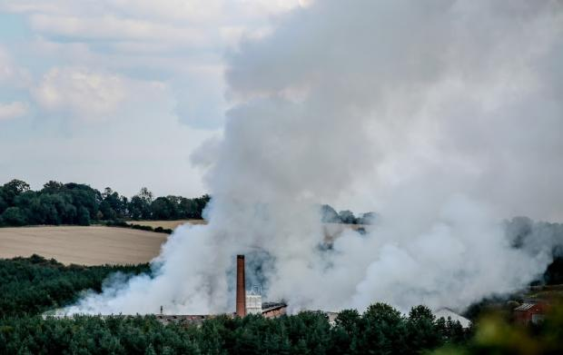 The Northern Echo: Fire at the former Eldon Brickworks site in Bishop Auckland Picture: SARAH CALDECOTT