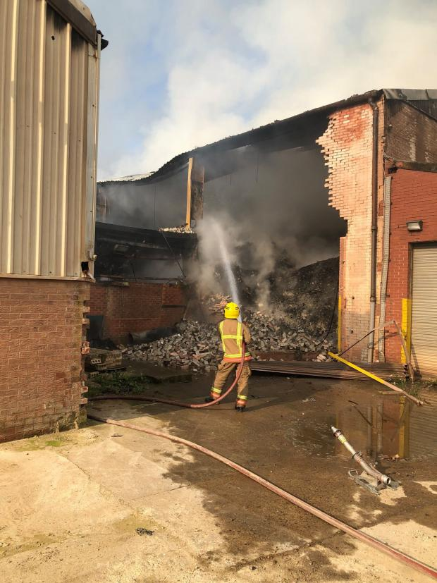 The Northern Echo: Fire at the former Eldon Brickworks site in Bishop Auckland Picture: CDDFRS