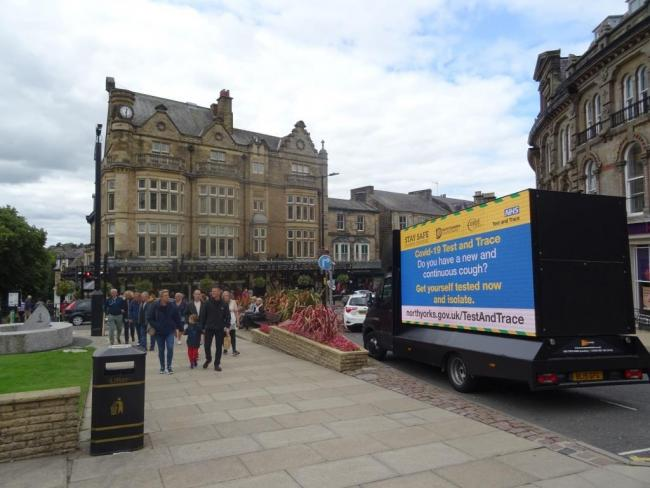 Coronavirus safety messages have been placed in some North Yorkshire towns