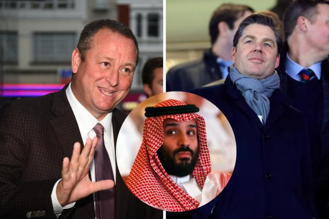 Mike Ashley, Richard Masters and Mohammed bin Salman