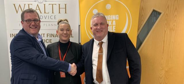 Left to Right: Chris Breward CEO Wealth of Advice with Mandy Brunskill and Kevin Hill from Bringing Back A Smile