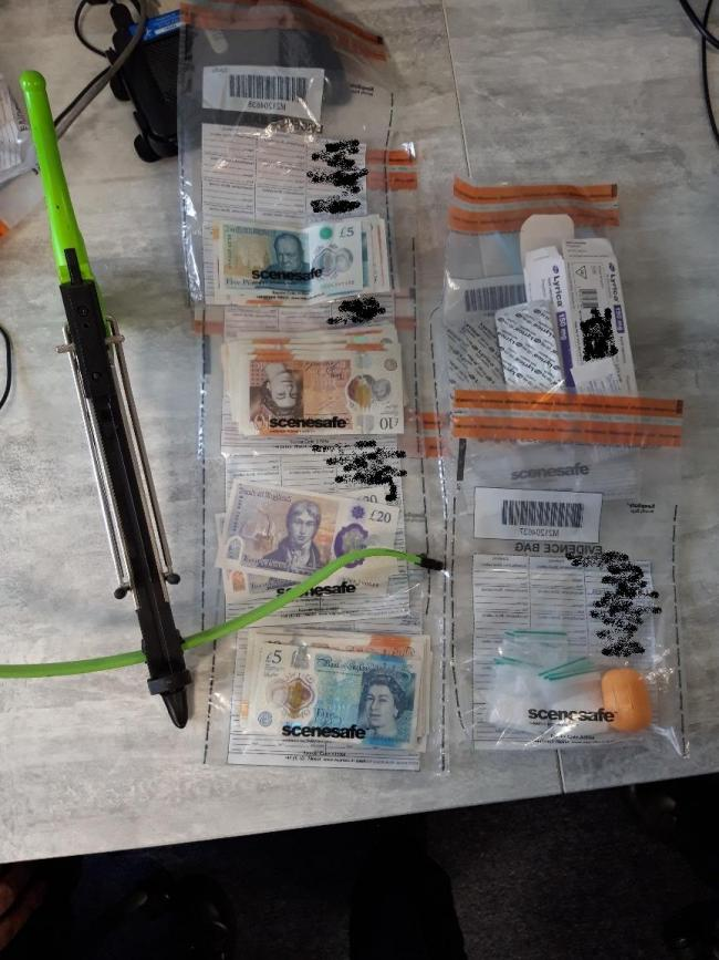 The crossbow and drugs seized