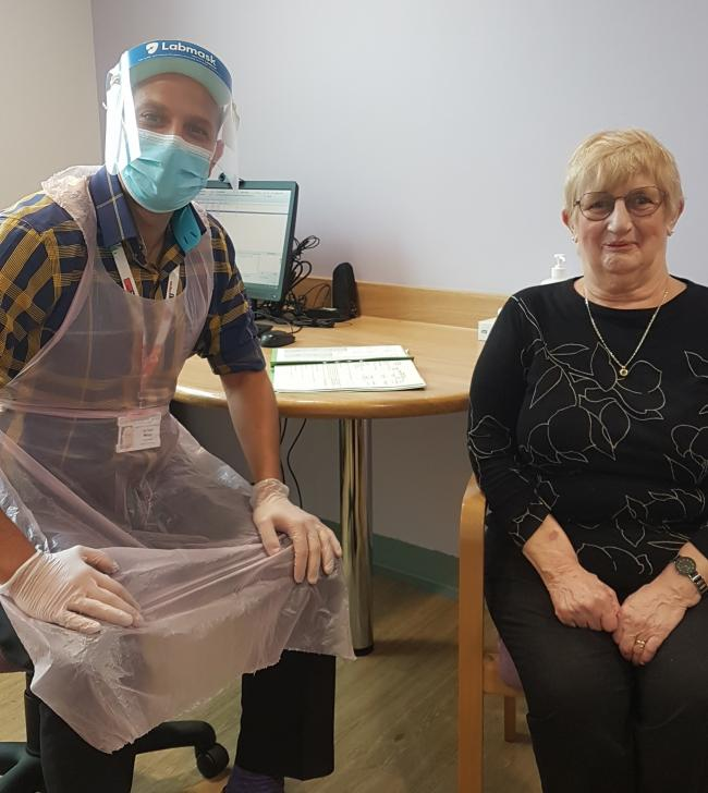 Lung cancer patient Barbara Cox with Dr Mansy