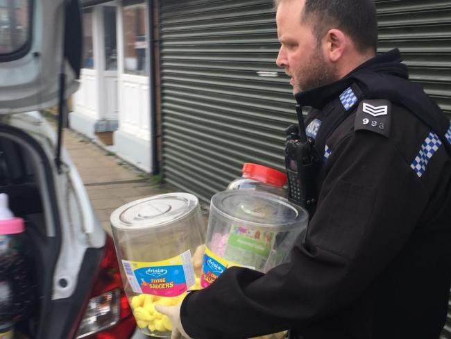 Sweets seized from shop in Stanley during police drug dealing inquiries in November, 2018