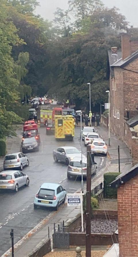 Vane terrace, coming off Woodland Road, was blocked off by fire engines