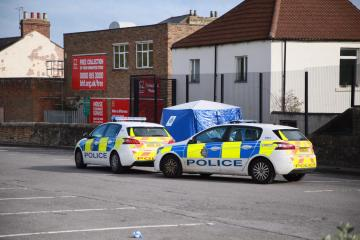 Police tape off car park and put up tent in Bishop Auckland after incident