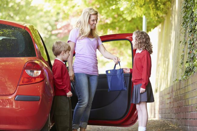 School run, drop-off, parents, mother, mum, kids, family, children.