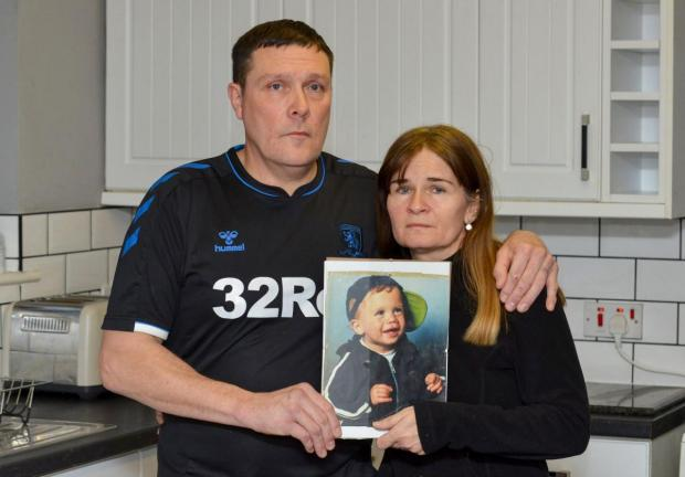 The Northern Echo: Luke Jobson's parents, Lisa and Stuart, with a picture of their son as a young boy