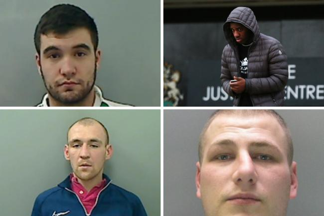 Violent men, a bank robber and a dangerous driver were dealt with at Teesside Crown Court