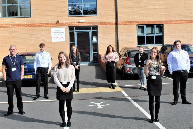The new apprentices outside Darlington Building Society's head office in Darlington. Picture: Peter Barron